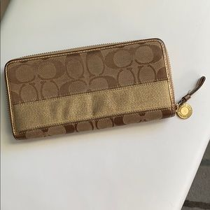 Gold and Brown Coach Wallet